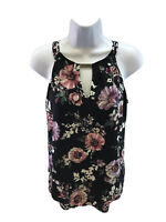 White House Black Market Women's Black Floral Sleeveless Keyhole Top Sz XS