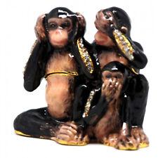 Monkey Diamante Decorated Jewelled Trinket Box....No Evil