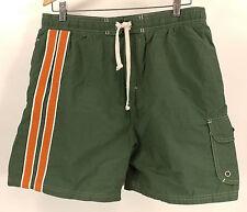 Mens Original BUM Equipment Green Orange Swim Trunks - Size Large - Nice!