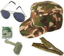 UNISEX ARMY CAMOUFLAGE CAP AVIATOR GLASSES DOG TAGS BULLET BELT LOT ACCESSORIES
