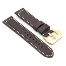 DASSARI Salvage Distressed Leather Watch Band Strap Yellow Gold Buckle Panerai