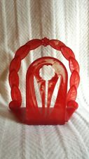 Great Vintage Orange Amber Plastic Art Deco Napkin Holder