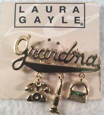 Gold Tone Grandma Three Charm Pin