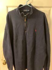 Polo Ralph Lauren Quarter Zip Sweater Pullover 2XL (TALL) Navy Blue Red Logo