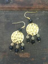 Hammered Round Disc Brass Jasper Gemstone & Black Bead Fringe Boho Drop Earrings