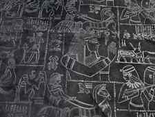 Pigskin suede leather hide Black w/Egyptian Heiroglyphics Print