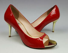 Jinny Kim Hollywood shoes 6 US candy red patent leather open toe gold heels