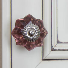"110174-P - GlideRite Hardware 1-3/4"" Purple Glass Flower India Cabinet Knob"