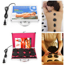 16Pcs Hot Massage Stone Volcanic Stones Kit Rock Spa Oiled Massager Machine+Box