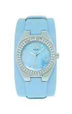 Guess 90168L4 Women's Leather Blue Cuff Swarovski Crystal Mother of Pearl Watch