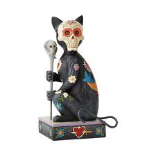 Jim Shore Halloween Day of the Dead Cat w/ Sugar Skull Mask Figurine ~ 6004327