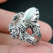 FLEUR DE LIS Mother of Pearl 925 Sterling Silver Ring, Size N 1/2-UK, 7.25-USA