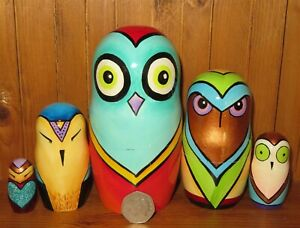 Slight Seconds Owl Red Blue Green techno Matryoshka 5 Nesting Russian Dolls GIFT