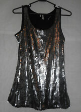 Studio Y tank top size Small Black with Silver Sequence NEW
