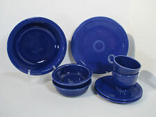 Vintage Fiesta Cobalt Blue Dishes Homer Laughlin Cup Saucer Bowl Plate Lot of 8