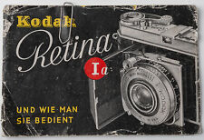 Bedienungsanleitung Kodak Retina Ia IA I a 1a 1 a 1A Anleitung