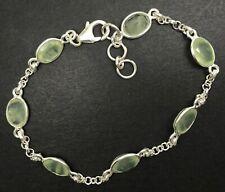 Real prehnite oval gemstone bracelet, solid Sterling Silver. Faceted. New.