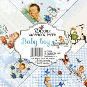 "Decorer Baby Boy 8"" x 8"" Paper Pad 18 Sheets 170gsm New"