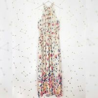 Modcloth Maxi Dress Plus Size 1X Cream Floral Print Illuminated Elegance Halter