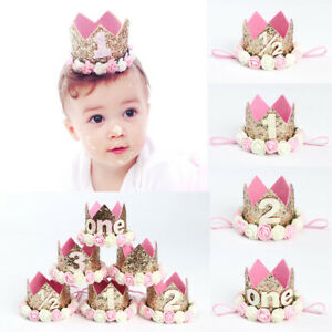Baby Girls Birthday Party Supplies Hat Flower Princess Glitter Crown Hair Decor