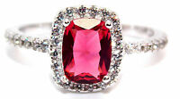 Sterling Silver Ruby And Diamond 3.6ct Ring (925) Size 9 (R) Free Gift Box