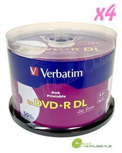 200 VERBATIM 8X Blank DVD+R DL Dual Double Layer 8.5GB White Inkjet Printable