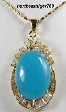 Fine Sky-blue Jade Crystal 18KGP Pendant and Necklace