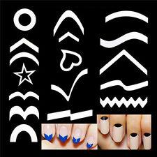 French Manicure Nail Art Tips Form Guides Sticker DIY Stencil 15 Designs Decor X