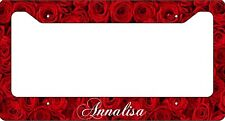 Personalized Red Roses License Plate Frame Custom Car Tag Flowers