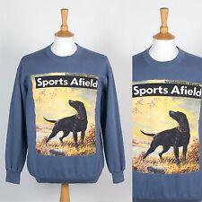 Felpa Uomo Retro Blu Sports Afield rivista di Caccia Cervo Anatra PISTOLA Cane L