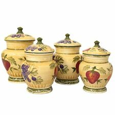 4 Pc Kitchen Canister Set Flour Coffee Sugar Storage Container Jars Hand Painted