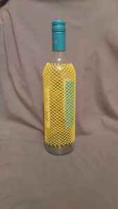 Wine bottle cover glass protector storage sleeve web netting ..      MADE IN USA