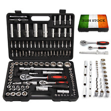 "108PC 1/2""&1/4"" Socket Set&Screwdriver Bit Torx Ratchet Driver Tool Kit Case Box"