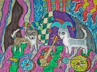 ALASKAN KLEE KAI Jester with Guitar Art Print 8x10 Dog Collectible Signed Artist