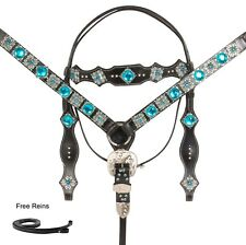 WESTERN BRIDLE HEADSTALL BREAST COLLAR HORSE TACK SET BLING BLUE BLACK LEATHER