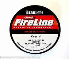 "FIRELINE Braided Beading Thread Cord Clear 0.006"" x 50 yards 4LB / Size B"