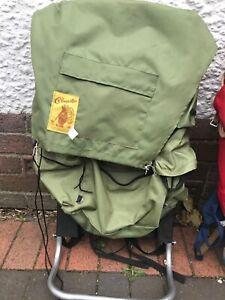 Vintage Metal Framed Rucksack Backpack green Cobmaster