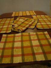 Rooster Design Gold - Red - Green Cloth Placemats with One Matching Napkin  Used