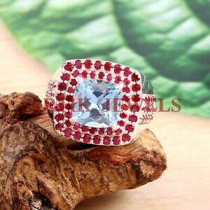 Natural Blue Topaz & Ruby Gemstone with 925 Sterling Silver Ring for Men's #2765