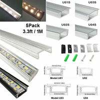 5pack 1M Aluminum Channel Profile With Clear Cover for 5050 3528 LED Strip Light