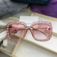 New Authentic Gucci Sunglasses GG148S Women's Pink Oversized Square Bling