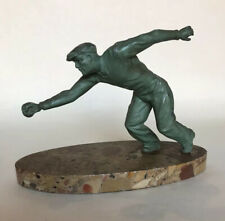 Art Deco Spelter Figure on Marble Base - Man Playing Lawn Bowls (Bowling)
