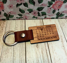 Personalised Leather Wood Calendar Daddy - Family keyring - Wedding Anniversary