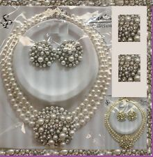 NEW Crystal Icon Audrey Hepburn Style Strand Bead Layered Pearl Necklace Wedding