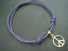 2mm purple leather ankle bracelet adjustable with silver peace sign Cnd charm