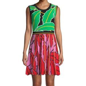 DIANE VON FURSTENBERG DVF Parker Knit Floral Vetiver Colourful Dress