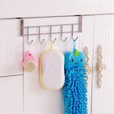 Rack Over the Door 5 Hook Hanger Clothes Coat Hat Belt Towel Handbag Home Decor