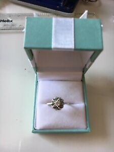Emerald and Diamond Silver Ring Size L