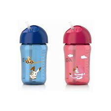 Philips Blue or Pink Avent Straw Cups Cup Baby Bottle 340ml For Babies 18m+