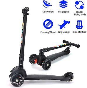 Height Adjustable Kids Kick Push 3 Wheel LED Light Scooter for Boy Girl 3-12yr